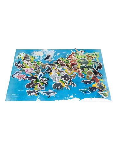 Puzzle éducatif pedagogique animaux menacés janod planisphere mappemonde ecole montessori enfant jouet jeu geographie