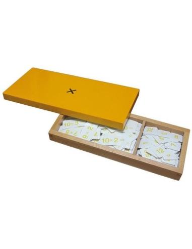 Boîte équations bois exercices multiplication Matériel Montessori ticket opération table graphie