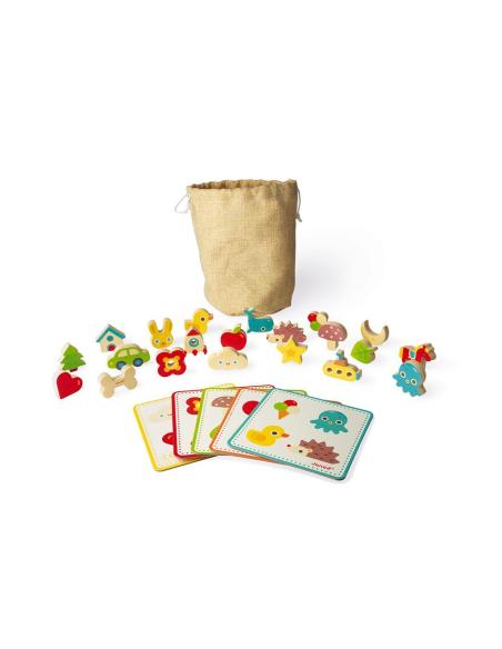 jeu reconnaissance tactile memory touch' janod j02702 sensoriel jouet bois manipulation loto modulabl