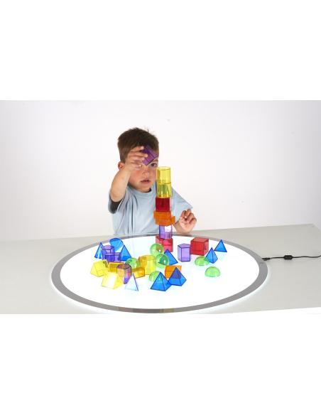 Solides géométriques transparents (36pcs) table lumineuse sensoriel translucide formes cube couleur demi sphere