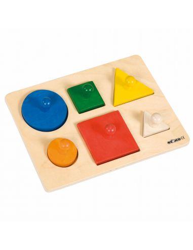 Puzzle encastrable poignées prehension Formes géométriques premier age bebe jouet bois carre rond