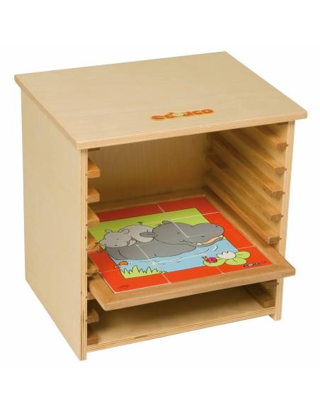 Cabinet meuble de rangement pour puzzle 24cm educo ecole nienhuis cycle mobilier scolaire classe maternelle primaire