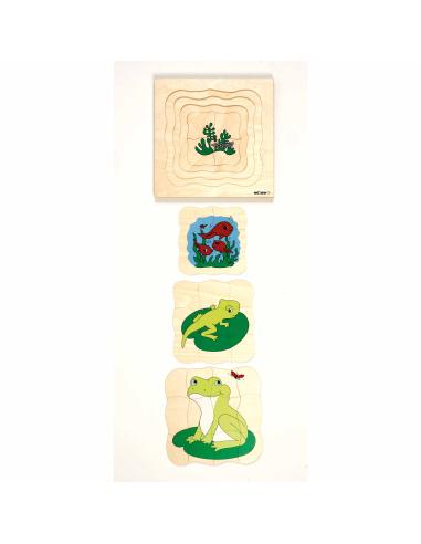 Puzzle à étages du cycle de vie de la grenouille (bois) - 31pcs Educo {PRODUCT_REFERENCE}  Jouets libres et jeux de construction