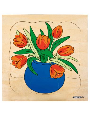 Puzzle étages cycle evolution fleur tulipe germination croissance biologie decouverte monde science ecole primaire materiel peda