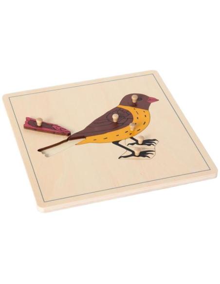 Puzzle bouton poignee prehension oiseau zoologie botanique Matériel Montessori didactique pedagogique ecole maternelle