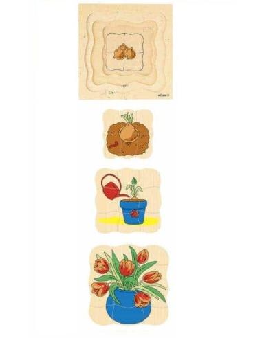 Puzzle à étages du cycle d'une fleur (tulipe) - Germination Educo {PRODUCT_REFERENCE}  Jouets libres et jeux de construction - 2