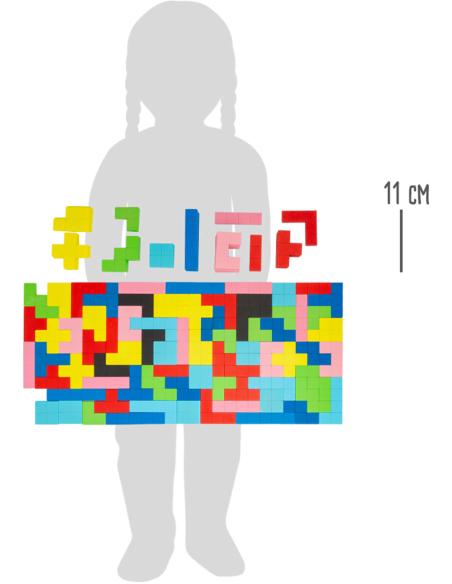Puzzle jeu Tétris BOIS PLATEAU PLANE FIGURE reproduire modele figure geometrique pavage maternelle primaire pedagogique
