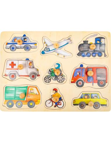 Puzzle avec poignées Les moyens de transport - 9 pièces (bois) Small Foot Design {PRODUCT_REFERENCE}  Puzzles - 3