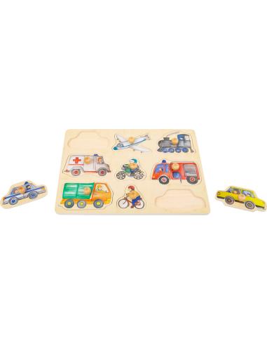 Puzzle pièces poser Véhicules encastrable poignée bois premier age bebe materiel pedagogique montessori