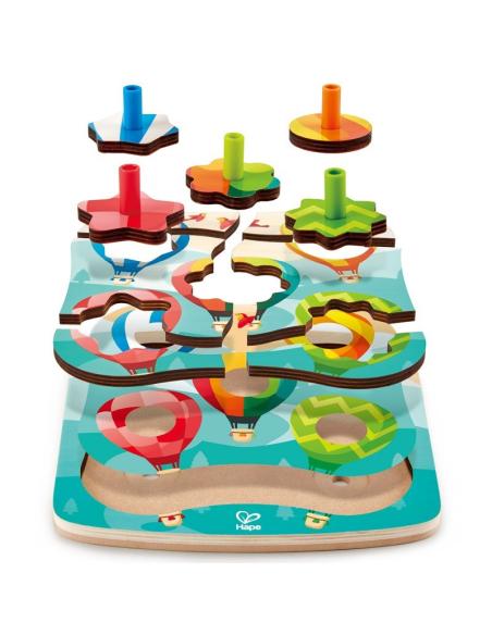 Spinning Balloons Puzzle montgolfiere toupie hape e1623 jouet en bois jeu educatif motricite fine enfant ludotheque ecole