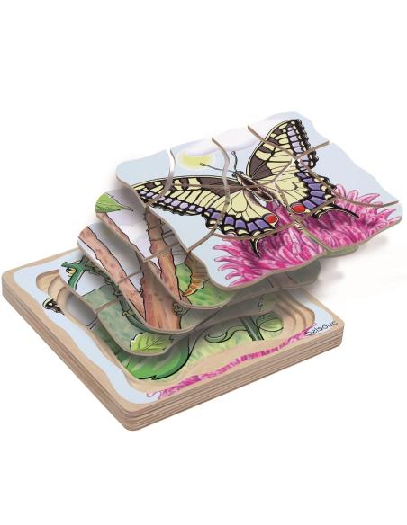 Puzzle étages Métamorphose papillon Beleduc cycle vie biologie science materiel educatif catalogue ecole maternelle autonomie
