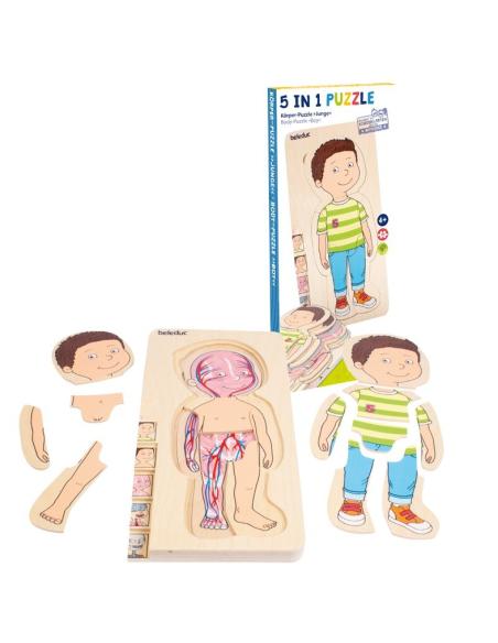 Puzzle étages découverte corps humain garçon Beleduc 17170 science anatomie materiel pedagogique educatif squelette veine
