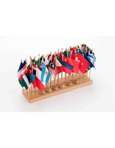 Lot de 50 drapeaux des pays du Monde Montessori (bois et tissu 30cm) LesMinis Montessori {PRODUCT_REFERENCE}  Géographie - 1