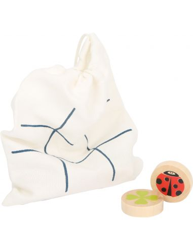 Jeu de voyage du Morpion bois jouet jouer societe sac pion tissu enfant transport plein air primaire pas cher