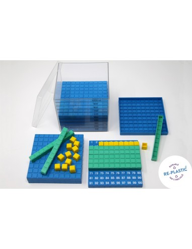 Système décimal bicolore Montessori Base 10 en couleur cube cm3 dienes méthode de singapour
