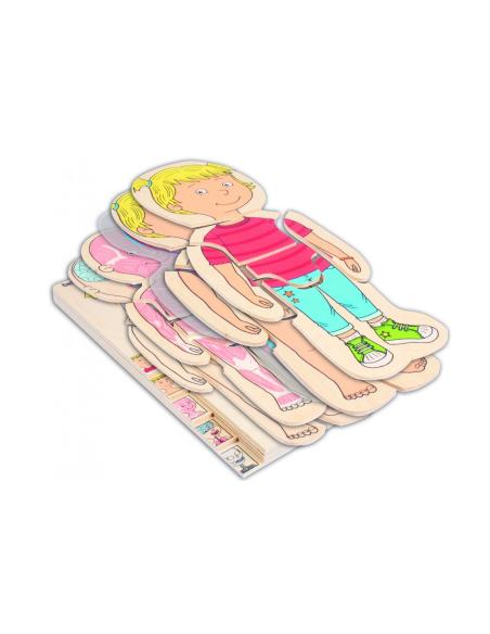 Puzzle corps humain modèle fille etage superposition apprendre biologie science partie montessori materiel educatif pedagogique