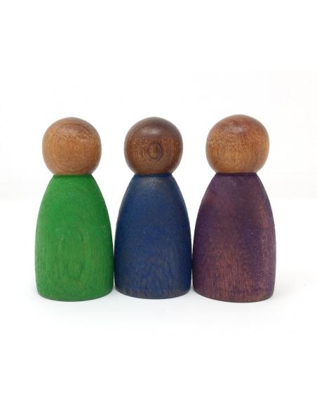 Ensemble 3 personnages Grapat Jeu libre jouet bois foncé noir pedagogie waldorf montessori reggio coin classe construction froid