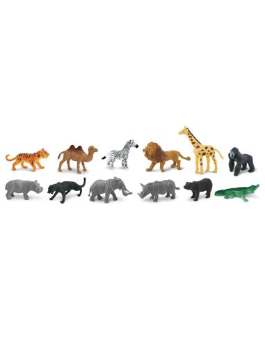 Figurines animaux sauvages 48pcs - Sachet vrac Safari 761004 Matériel pédagogique Enrichissement Montessori Jouet Cartes materne
