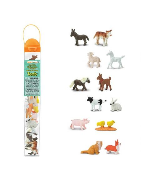 Figurines bébés animaux la ferme Tube Safari 681204 Matériel pédagogique Enrichissement Montessori Jouet Cartes maternelle scien