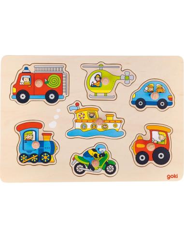 Puzzle encastrament Les véhicules - Avec poignées (Bois) Goki {PRODUCT_REFERENCE}  Puzzles - 1