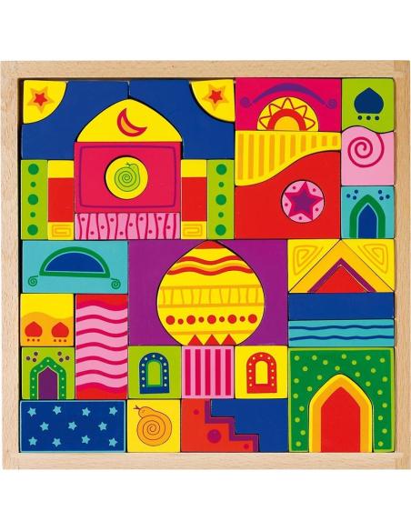Jeu de construction bois mille nuit arabesque Mandala puzzle shalimar goki materiel reggion montessori classe libre