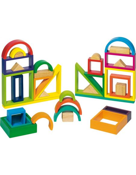 Jeu constructions arc-en-ciel Jouet bois GOKI Matériel Montessori Waldorf Reggio libre