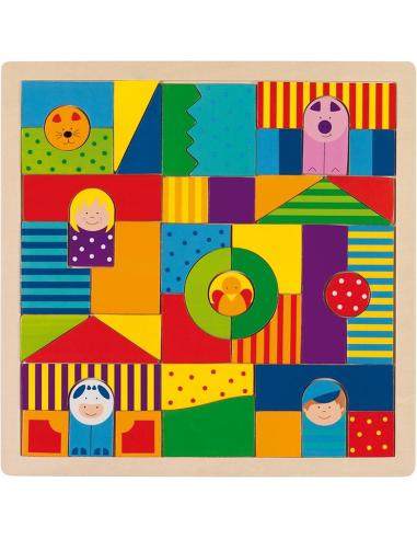 Puzzle construction Thème ferme mandala bois Jouet GOKI Matériel Montessori Waldorf Reggio libre