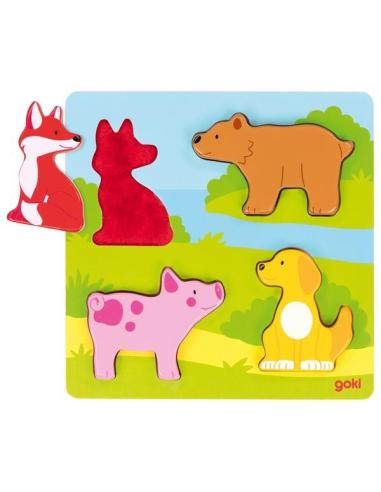 Puzzle tactile des animaux Goki - Différentes textures sensorielles Goki {PRODUCT_REFERENCE}  Puzzles - 4