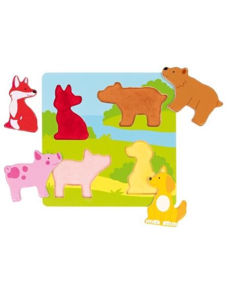 Puzzle tactile Goki Jouet bois encastrement Motricité fine Matériel sensoriel cochon bebe enfant renard