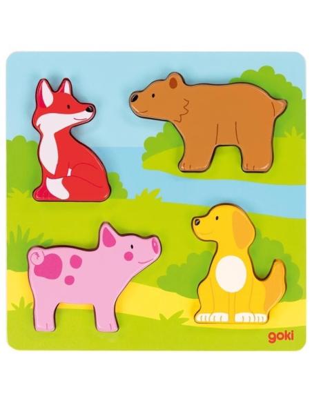 Puzzle tactile Goki Jouet bois encastrement Motricité fine Matériel sensoriel cochon bebe 57433 renard