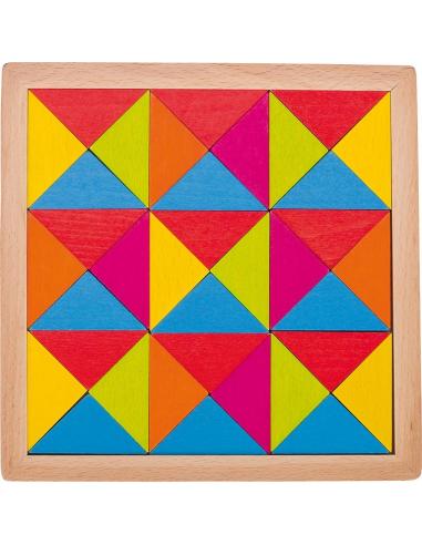 Puzzle jeu mosaïque bois Jouet GOKI Matériel Montessori Waldorf Reggio triangle couleur