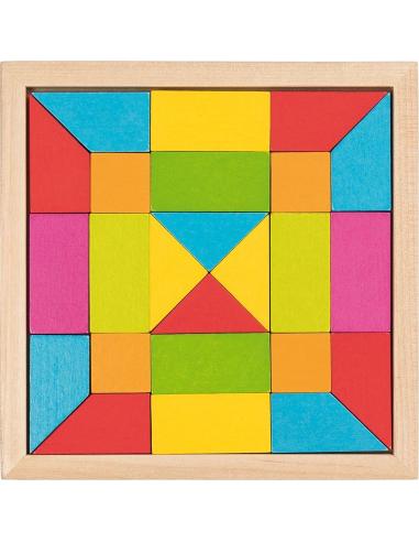 Puzzle mosaïque arc-en-ciel Mandala Jouet bois GOKI Matériel Montessori Waldorf Reggio forme couleur