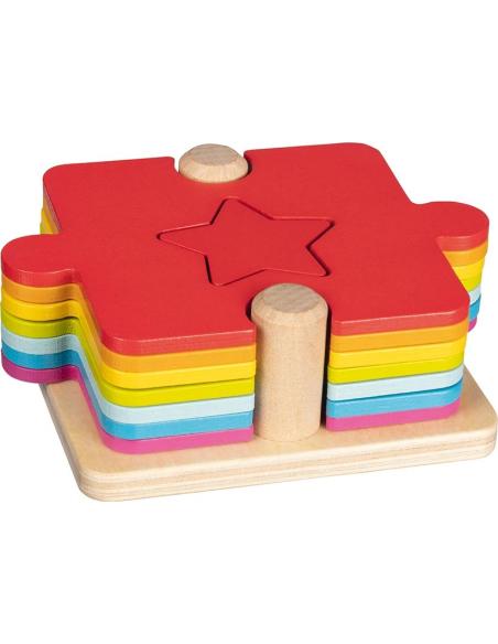 Puzzle empiler Jouet bois GOKI Matériel Montessori Waldorf Reggio forme geometrique