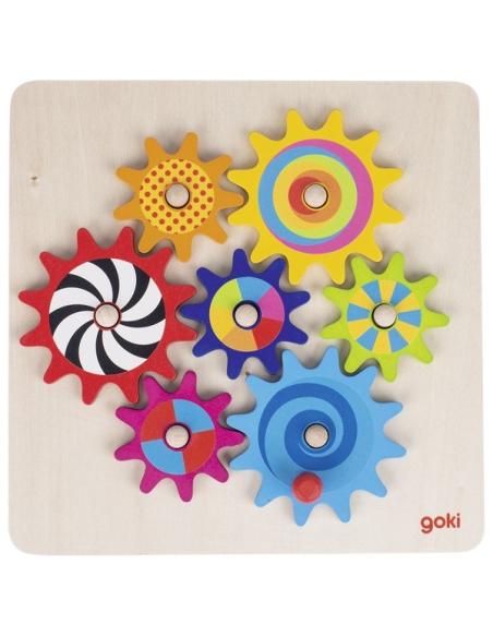 Puzzle Jeu engrenage bois GOKI Jouet Matériel Montessori science mecanique maths