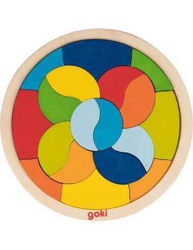 Puzzle mandala rond bois Jouet bois GOKI Matériel Montessori Waldorf Reggio courbe couleur