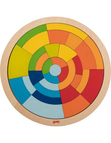 Puzzle mandala Jeu construction bois cercle Jouet GOKI Matériel Montessori Waldorf Reggio couleur creation