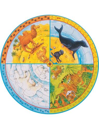 Puzzle des différents lieux de vie des animaux (bois) Goki {PRODUCT_REFERENCE}  Puzzles - 1