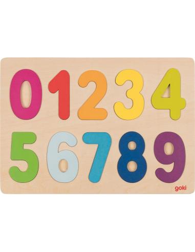 Puzzle chiffres arc-en-ciel Jouet bois GOKI Matériel Montessori Waldorf Reggio compter apprendre