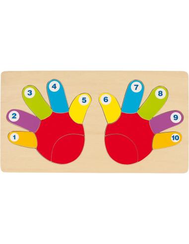 Puzzle mains compter 10 Jouet bois GOKI Matériel Montessori Waldorf Reggio mathematique apprendre