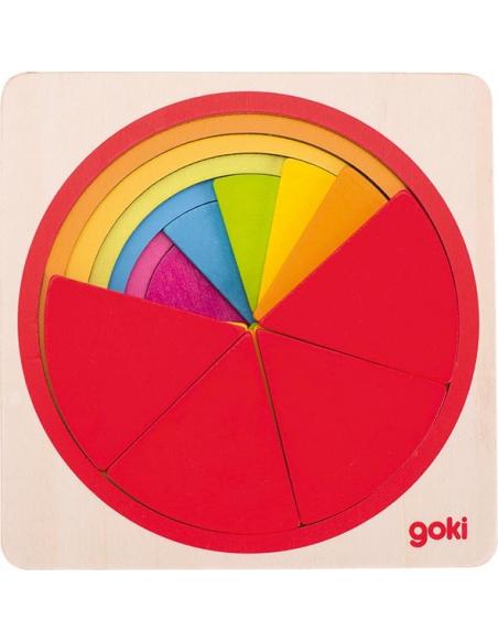 Puzzle cercles apprendre fractions Goki Jouet bois Matériel Montessori éducatif pédagogique mathematiques