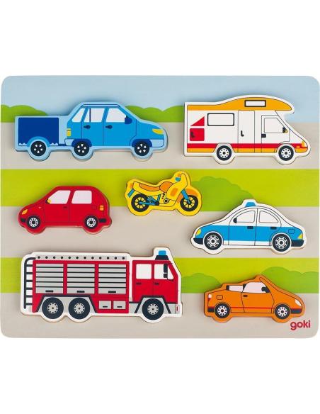 Puzzle véhicules route bois Jouet GOKI Matériel éducatif pédagogique Apprentissage montessori camion pompier voiture bus