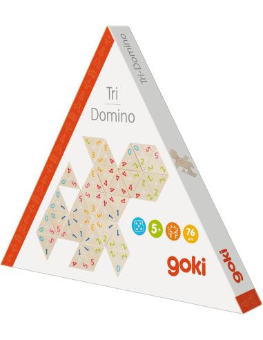 Trio domino Goki bois Triominos jeu plateau carte chiffres nombres materiel pedagogique educatif 56894 apprendre