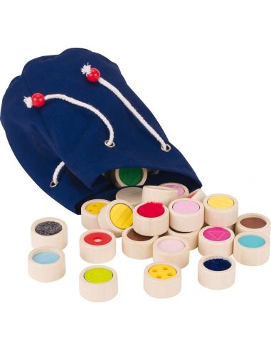 Mise paire memo tactile Jeu sensoriel Montessori sac tissu bois goki 59004