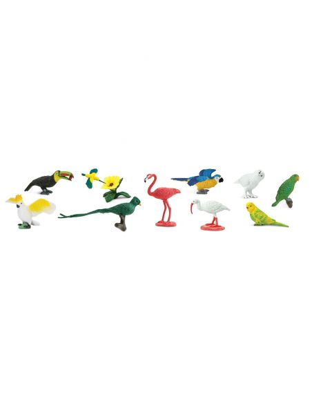 Oiseaux safari exotiques figurine educative montessori education perruche perroquet colibri flamant hisbicus safari 680404 tube