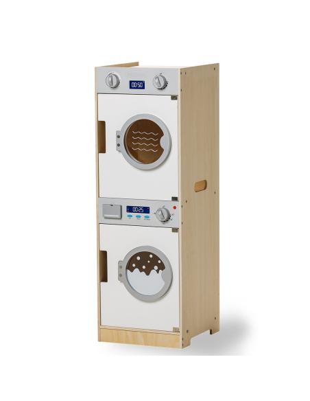 Combiné machine à laver sèche linge jouet bois imitation poupee enfant jeu grand moyticite pratique autonomie