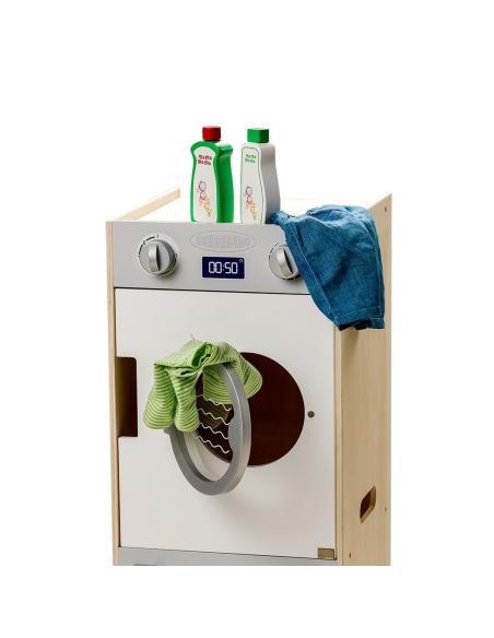 Ensemble lot lessive adoussicant Jouet jeu bois imitation faire semblant machine laver linge poupee enfant grand motricite auton
