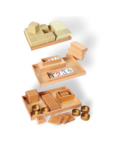Matériel complet des perles dorées Montessori (individuelles) - Symboles et quantités LesMinis Montessori {PRODUCT_REFERENCE}  M