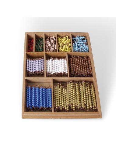 Lot complet pour les tables de multiplications de 1 à 10 - Perles Montessori (550pcs) et boîte  LesMinis Montessori {PRODUCT_REF