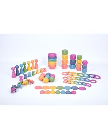 Super ensemble jouets libres bois hetre arc-en-ciel Tickit 73979 jeu construction montessori educatif pedagogique