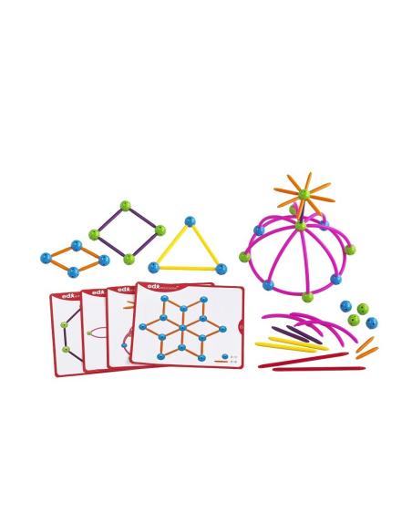 Kit géométrie jeu mathematiques Skeletal Geo Reproduire modèle motricité fine repérage spatial materiel pedagogique educatif eco